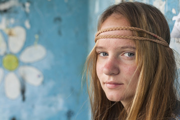 Portrait of young cute girl hippie