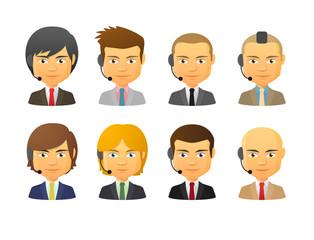 Telemarketing male avatars wearing headset