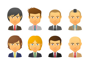 Male avatars wearing suit with various hair styles