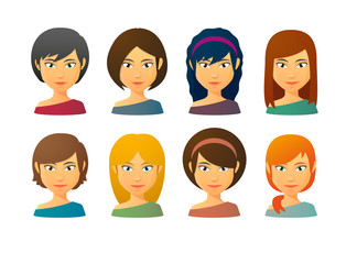 Female avatars  with various hair styles