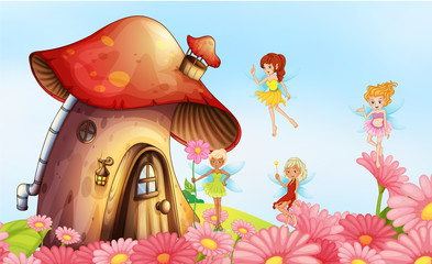 A big mushroom house with fairies