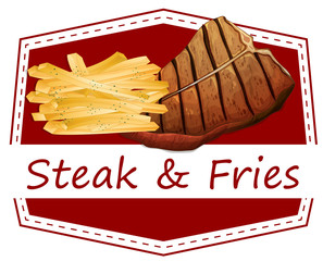 Steak and fries label