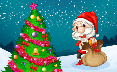 Santa near the big christmas tree