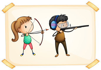 A frame with two people playing archery