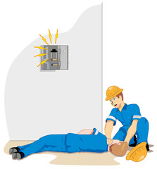 Individual employee being electrocuted and fainting 3