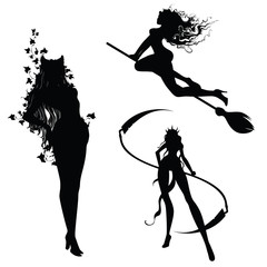 Silhouettes of attractive witches
