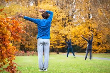 Aerobics in a park