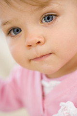 Baby girl (12-15 months), portrait, close-up