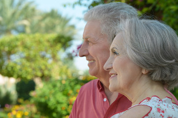 Smiling elderly couple in park