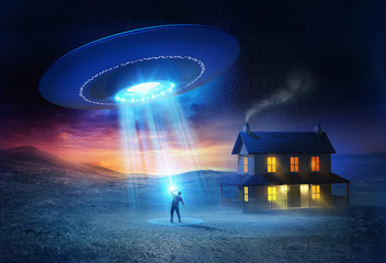Zelfklevend Fotobehang UFO UFO Abduction