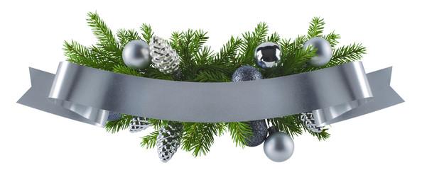 Festive rich christmas silver decoration element