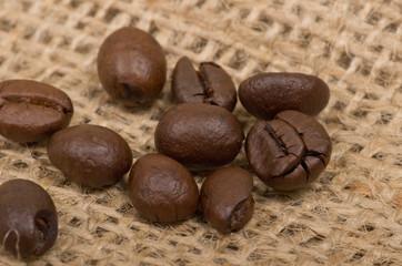Coffee beans on sack(burlap)