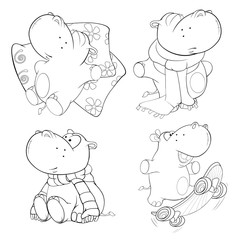 A set of hippopotamuses. Coloring book