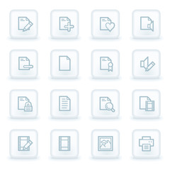 Document web icon set 1, white square buttons