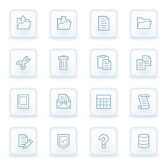 Document web icon set 2, white square buttons
