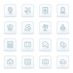 Travel web icon set 5, white square buttons