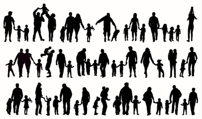 Poster Chambre d enfant Family silhouettes