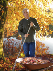 Man raking autumn leaves at edge of lake