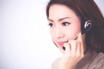 Portrait of happy smiling cheerful support phone operator in hea