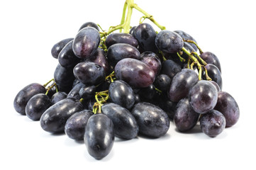 vine of purple grapes isolated over white
