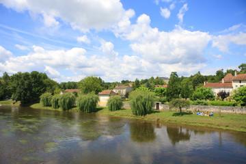 Idyllic village next to river, Bourdeilles, Dordogne, France