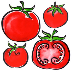 Collection of tomatoes and sliced isolated