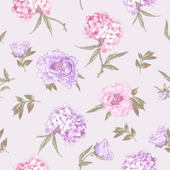 Seamless Background with Hydrangea and Peonies