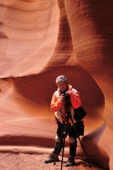 Elder Female Photographer in Antelope Canyon