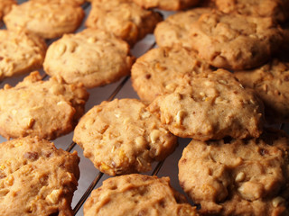 Cashew nut cookies on steel grid after oven
