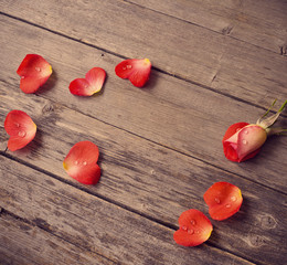 rose and petal in form heart on wooden background