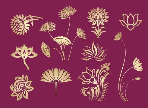 lotus motif , floral pattern, textile design, Rajasthan, royal India