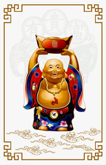 Vector of Happy Buddha Carrying Gold Money
