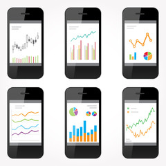 Set of smart phones and charts