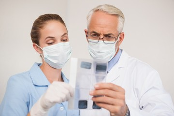 Dentist and assistant studying x-rays