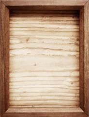 Old wooden frame on wood background.
