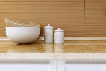 Kitchenware on the worktop.