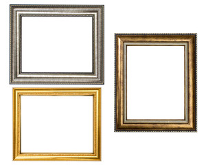 Gold wood frame on white background