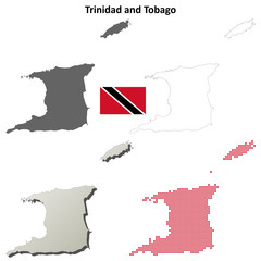 Trinidad and Tobago blank detailed outline map set