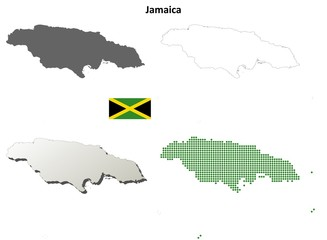 Jamaica blank detailed outline map set