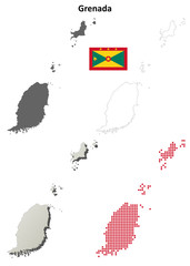 Grenada blank detailed outline map set