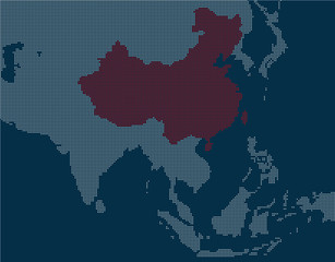 The Pixel Map of China with its neighbor