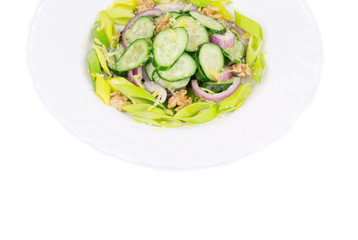 Healthy salad with leek and cucumber.