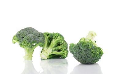 Three ripe broccoli.