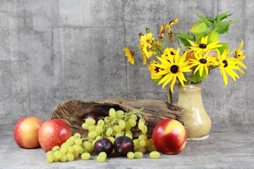 Stilleben : Obst und Blumen