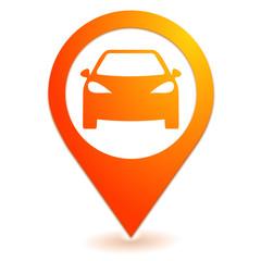 Fototapete - voiture sur symbole localisation orange