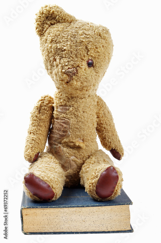 old teddy bear and old book