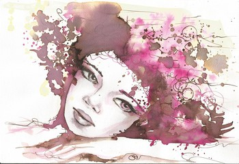 Fotobehang Schilderkunstige Inspiratie watercolor portrait of a woman.