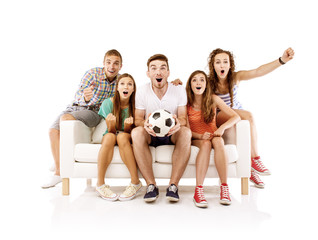 Group of young people on sofa with ball
