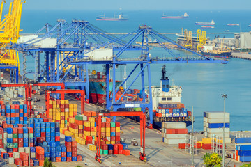 Fototapete - Container Cargo freight ship