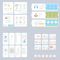 Collection:set of colorful flat UI kit for templates